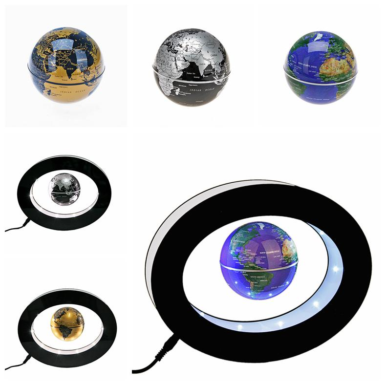 Oval Shaped Levitation Floating Globe Rotating Magnetic Mysteriously Suspended in Air World Map in Silver or Blue Color golde(China (Mainland))