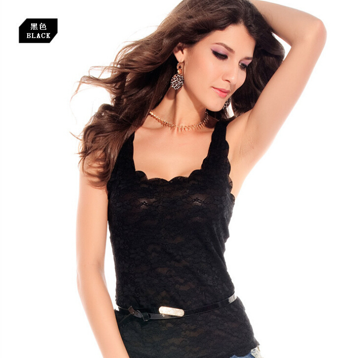 2015 High quality Wild Spring And Summer women sexy Black/pink Lace Tank Tops Bottoming shirt Crochet Vest(China (Mainland))