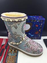 Hecho a mano Bordado Satén Embellecido Rhinestone Botas de Plataforma Zapatos de Mujer Botas de Invierno Cálido Botas de Nieve Botas Cortas de Tobillo(China (Mainland))
