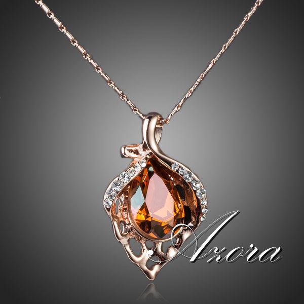 AZORA 18K Rose Gold Plated Unique Design with Citrine Cubic Zirconia Flower Heart Pendant Necklace TN0076(China (Mainland))