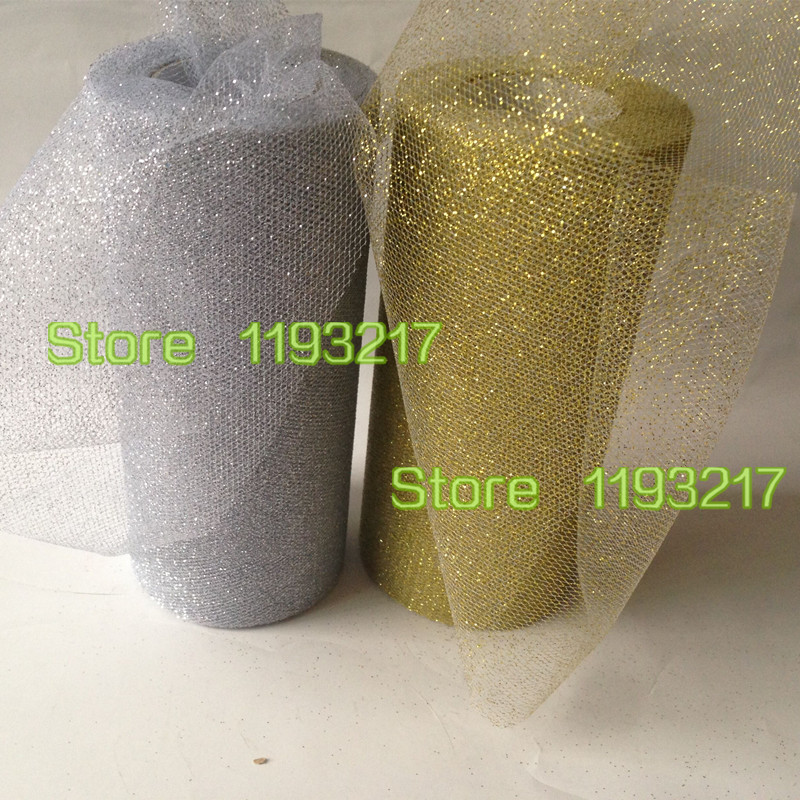 6 inch * 25Y Gold/Silver Glitter Mesh Shinning Tulle Spool Roll Vintage Style Trim Craft Tutu Wedding Party Chair Tables Decor - Loving Home's Store store