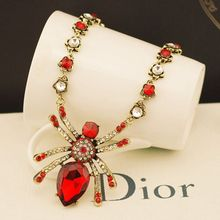 Great gem crystal spider necklace exaggerated retro female clavicle chain necklace Europe exaggerated female fashion flash(China (Mainland))