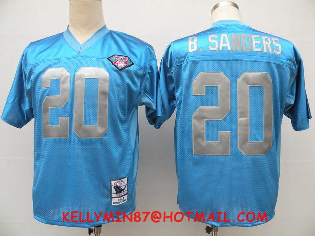 100% Stitiched,Detroit Lions,Barry Sanders,Throwback for men(China (Mainland))