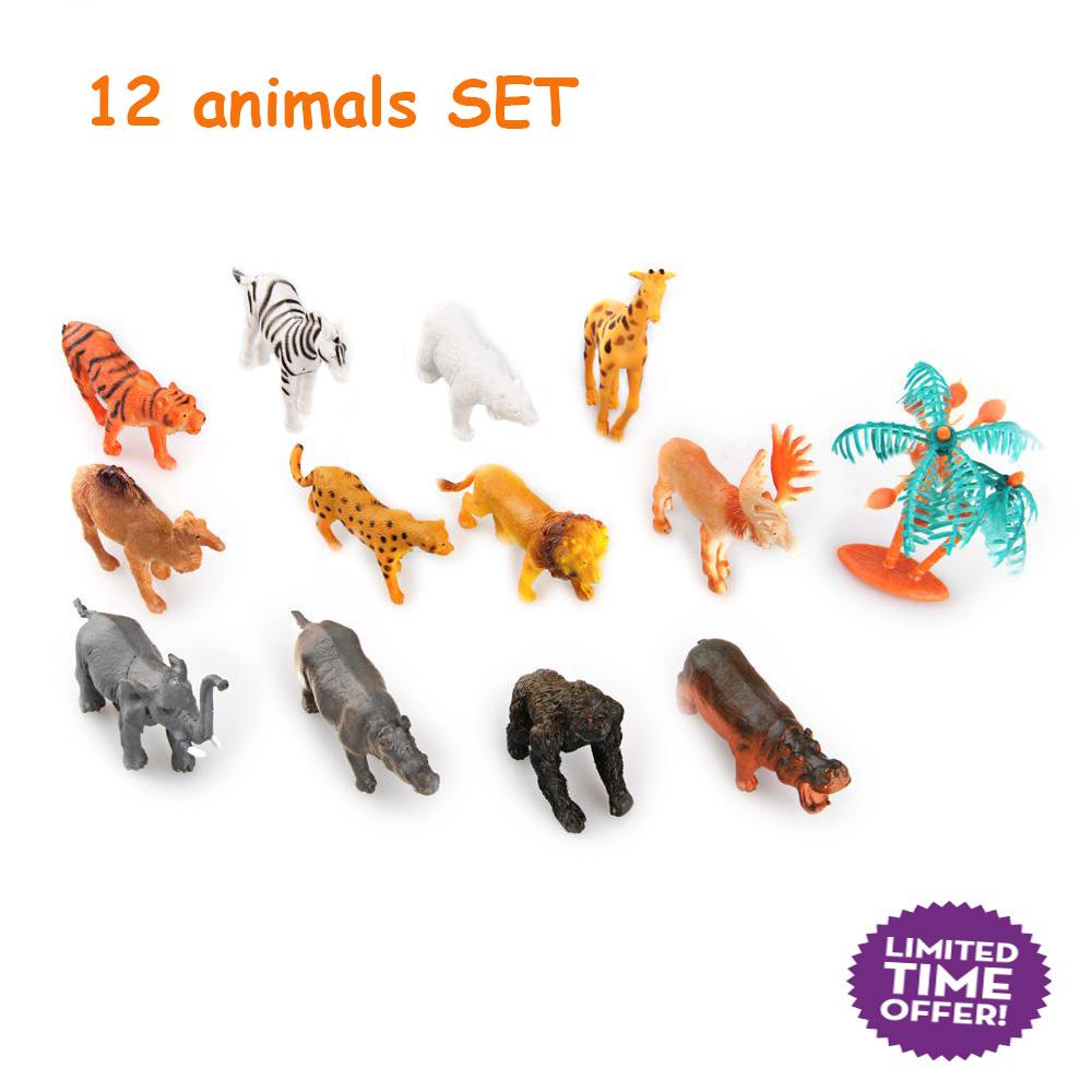 12 pcs New Hard Plastic Wild Animals Figures Set + Coconut Tree Toy Kid Children nontoxic PVC Children Model Action Toys Kit(China (Mainland))