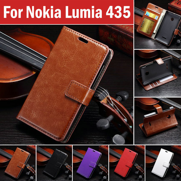 Vintage Wallet PU Leather Case for Microsoft Nokia Lumia 435 with Stand and Card Holder Phone Bag Luxury Flip Cover Brown White(China (Mainland))