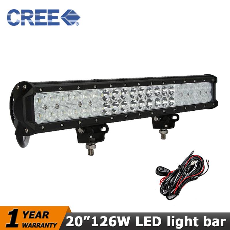 Фотография CREE 20 inch 126W Offroad LED Light Bar Dual Row ATV Led Work Light 12V/24V Beam Combo Wagon SUV Trucks 4WD 4x4 Off-road Light