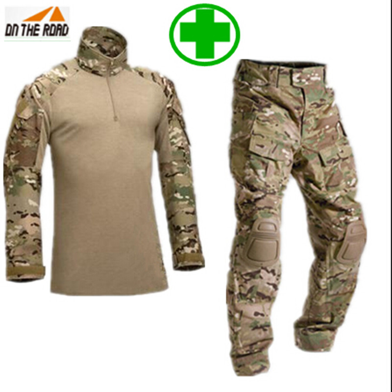 Tactical military uniform clothing army military combat uniform tactical pants with Protective Gear camouflage hunting clothes(China (Mainland))