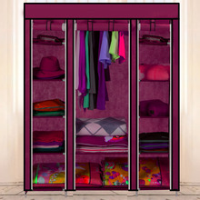 Large Capacity Furniture Wardrobes Closet Storage Organizer With Shelves and Hanger For Bedroom Wine Red us6(China (Mainland))