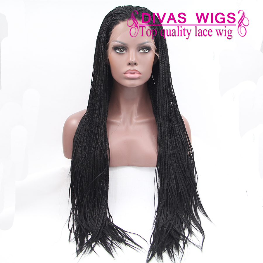 Synthetic fully handed Braided Lace Front Wig Heat Resistant Kanekalon thin Braided Wig Long black Synthetic Braided Lace Wig<br><br>Aliexpress