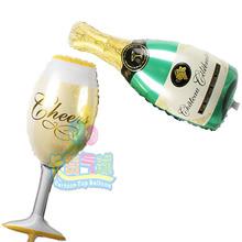 2 unids/par ( 1 unid copa de vino 1 unid botella de vino ) en forma de hoja hincha saludos mylar baloes para anniversary / wedding / cumpleaños decoración