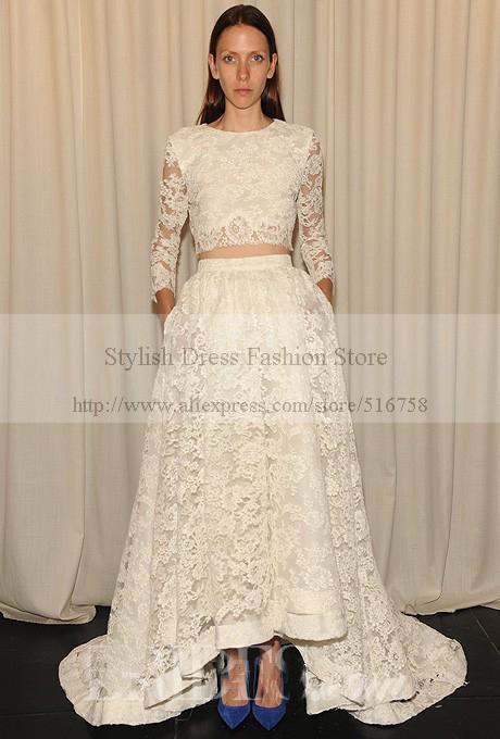 Unique design crop top vintage long sleeve lace bridal for Long sleeve high low wedding dresses