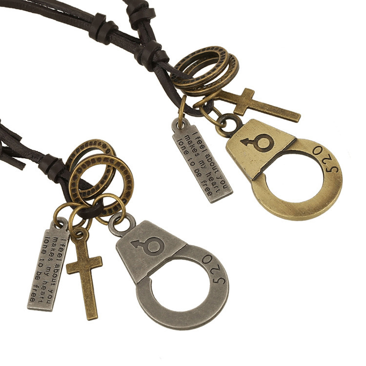punk Lovers Handcuffs Genuine leather long Men and perfume women Necklace fine jewelry statement gift best friends unisex rock(China (Mainland))
