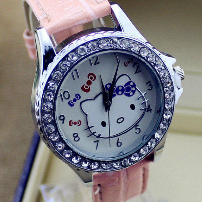 2015 Relojes Hello Kitty Girls Children Watch Cartoon Watch Cute Hour Quartz Watch Leather Women Dress Kids Watches reloj mujer(China (Mainland))