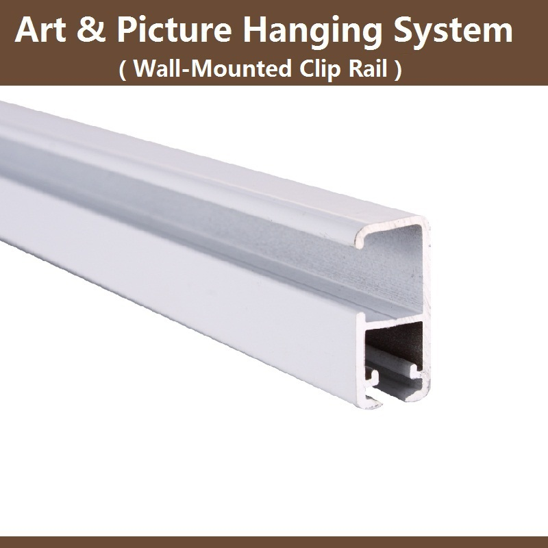 Art picture hanging system Clip rail track wall mounted rail  hooks display. silk wall hanging picture   ChinaPrices net