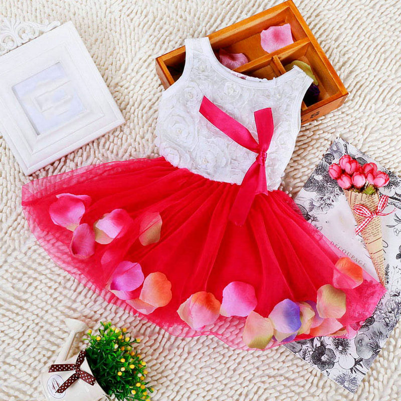 5 Color New Summer Cotton Baby Aestheticism Fairy Tale Petals Colorful Dress Chiffon Princess Newborn Baby Dresses Free Shipping(China (Mainland))