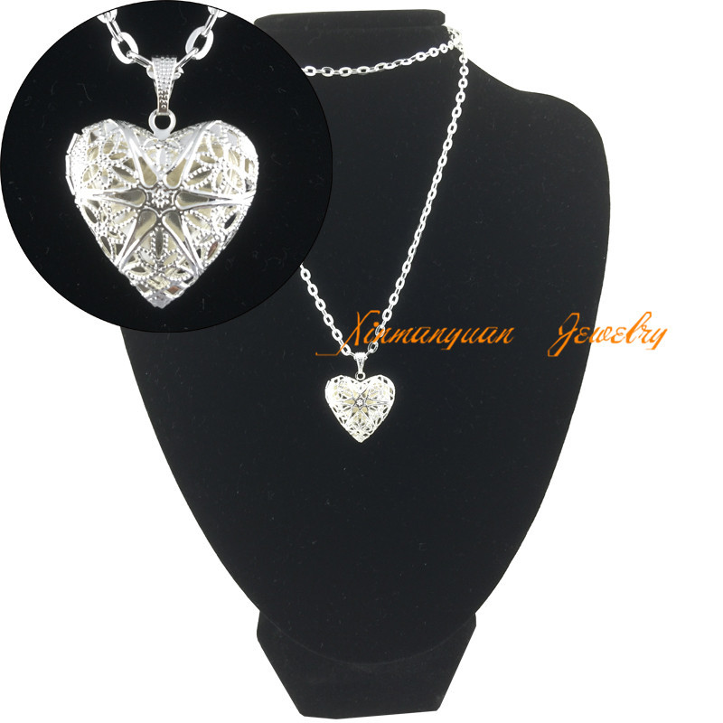 2015 New 925 Sterling Silver Jewelry Heart Photo Locket Necklace Pendant Best Gift For Women Girl ln22(China (Mainland))
