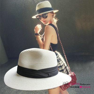 2015 The new sisters summer hat street shopping sun hat beautiful woman straw hat Fashion girl Beach hat tourism Jazz cap(China (Mainland))
