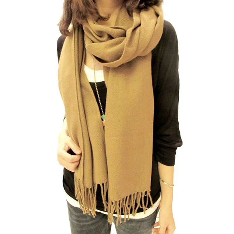 Hot Selling Comfortable foulard Women Classical Solid Color Girl's New Casual Shawls Warm Soft Scarf with Tassel All-match(China (Mainland))