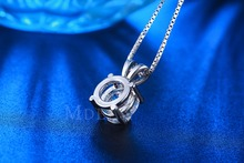 MDEAN Vintage wedding chain white gold plated CZ diamond AAA jewelry for women necklace Pendant New