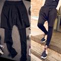 Fashion Male faux two piece pants one piece legging skinny pants personality