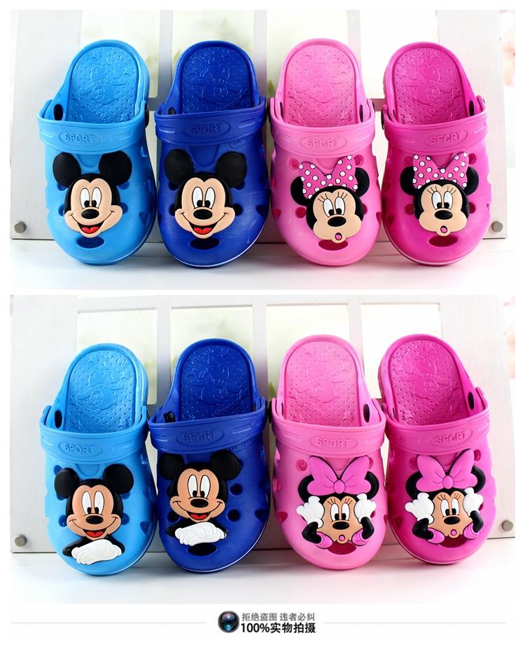 2016 New Cute Sandals Summer Children slippers boys girls Mickey Minnie cartoon style Rubber Beach Shoes child slipper Shoes <br><br>Aliexpress