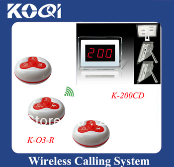 Promotions 1set LED Display Wireless Table Waiter Service Call Calling Paging System w 3pcs 3-press Table Call free ship free