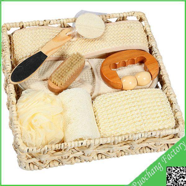 Free Shipping 10pcs Natural Loofah Sisal fibre bath glove belt pad sponge Bath Shower Spa Body Scrubber Back Strap bath set(China (Mainland))