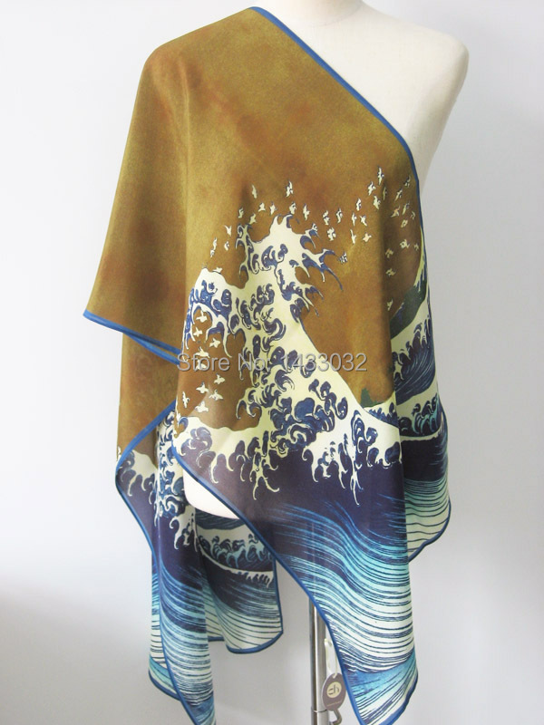 Women and girls scarf 100% Mulberry Silk Crepe de Chine Art Scarf Japanese Artist Hokusai Famous Woodblock Print The Great Wave(China (Mainland))