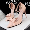 New Summer Pumps Women High heeled Shoes High Heel Shoes Sandal Sweet Bow Pointed Hollow Bowknot