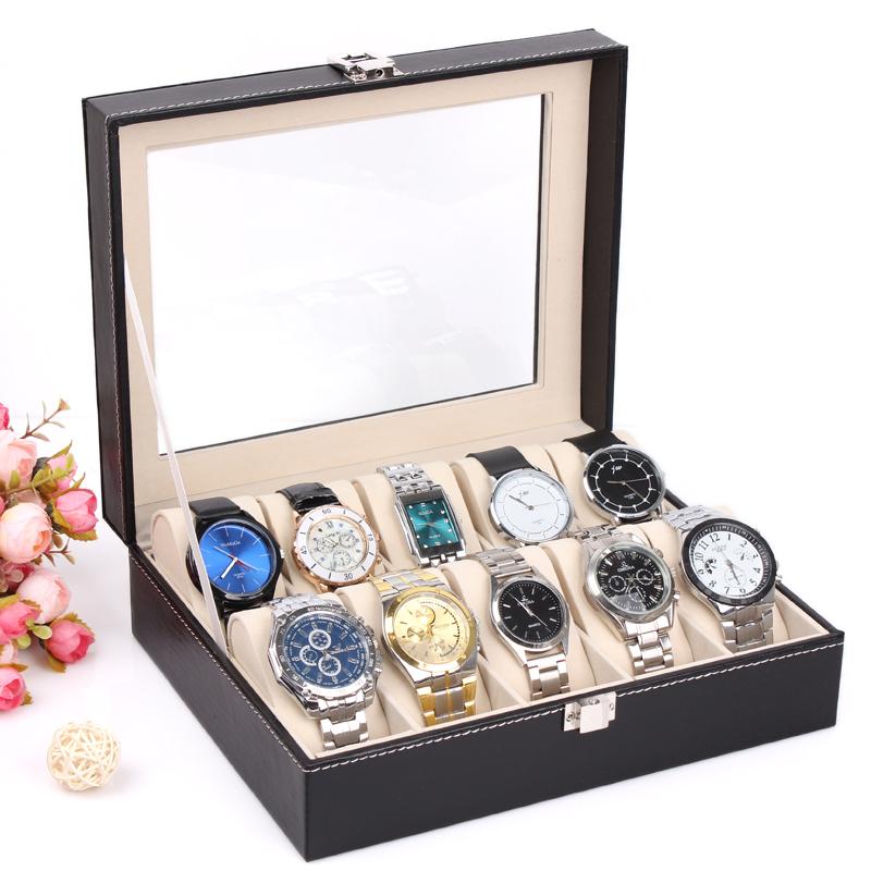 2014 New and Fashion 1PCS 10 Grid White Leather Watch Display Slot Case Box Jewelry Storage Organizer Windowed Case()