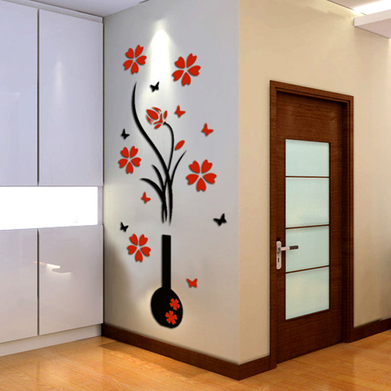 nouveau vase acrylique 3d cristalline tridimensionnelle stickers muraux tv fond mur porte d. Black Bedroom Furniture Sets. Home Design Ideas