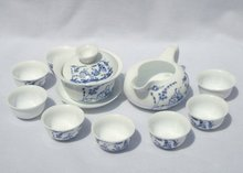 10pcs smart China Tea Set, Pottery Teaset,Qinghua,A3TM11, Free Shipping