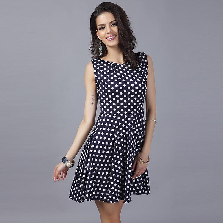 2016 Limited Bohemian Ball Gown Sleeveless Regular Vestidos De Fiesta Plus Size Eaby2015 Europe New Summer Dress Polka Dot Code(China (Mainland))
