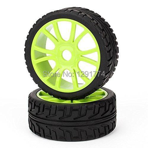 RC 1/8 Off-Road Car 12 Spoke Green Hub Wheel Rims Grip Grain Tires 102mm OD Pack Of 4(China (Mainland))