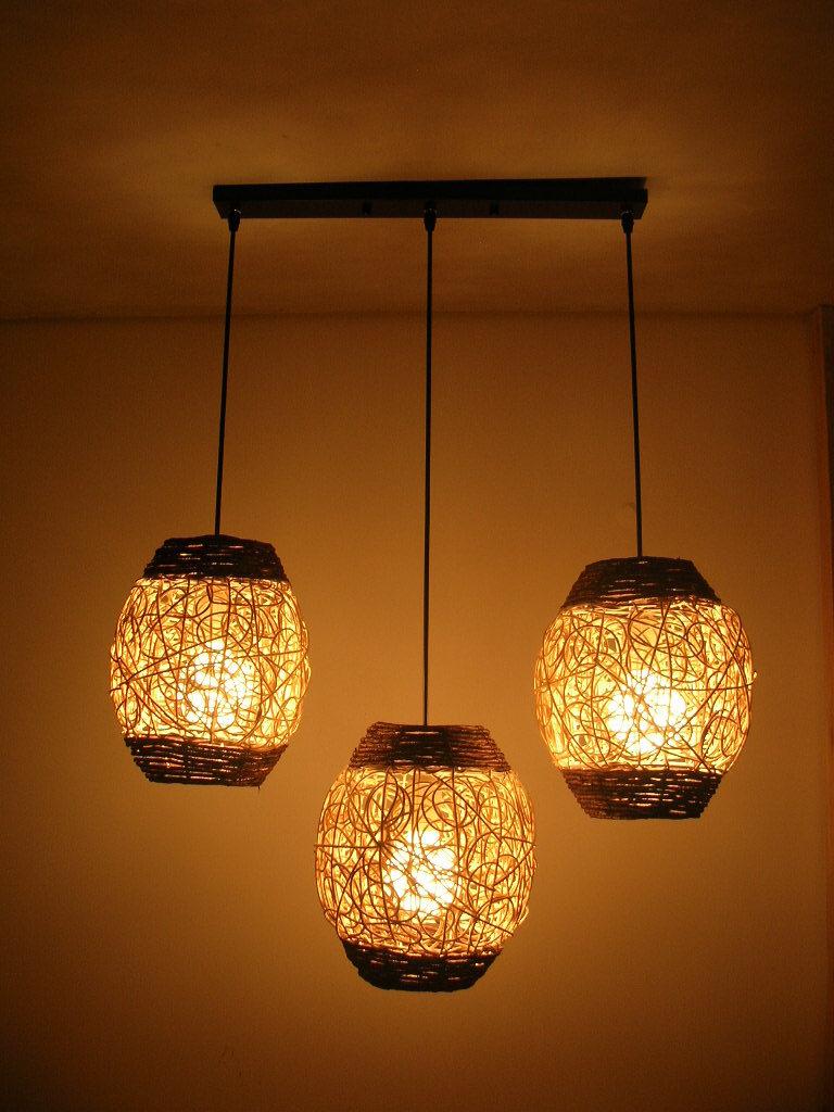 Hanglampen lamparas combinatie rustieke hanglamp rotan gebreide ...