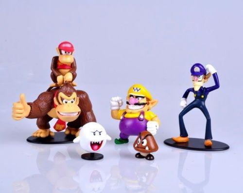 Lot 6 pcs Super Bros Figures Donkey Kong Waluigi Wario Ghost Goomba Toy lx(China (Mainland))