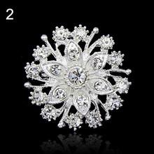 Panas Wanita Bunga Hati Berlian Imitasi Berlapis Perak Bros Pin Pernikahan Bridal Broach Breastpin Bros Wanita Perhiasan(China)