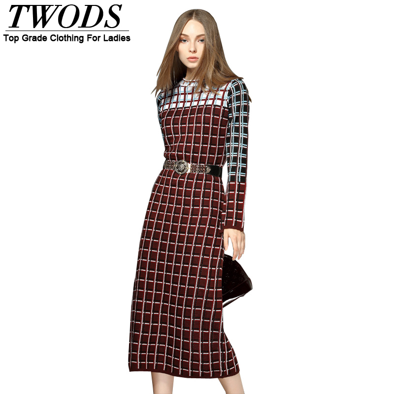 Twods Plaid Knit Long Sleeve Women Sweater Midi Dress With BeltsОдежда и ак�е��уары<br><br><br>Aliexpress