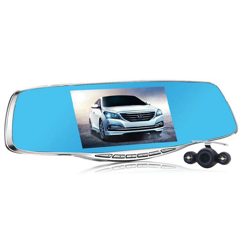 2016 Luxury night vision 5.0 inch dual lens rear mirror car dvr full 1080p car camera parking vehicle video recorder dash cam(China (Mainland))