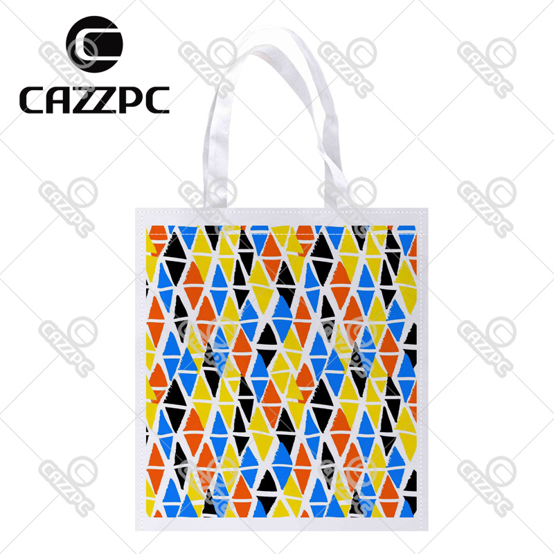 Colorful Hand Painted Diamond Geometric Shapes Print Custom Non-Woven Fabric Reausble Grocery Shipping Storage bag Pack of 4()