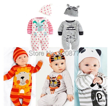 2016 Spring summer Infant Baby Boy Girl Clothes Newborn Romper Cotton Long sleeve Rompers Hat Clothing sets cute animal Ropa(China (Mainland))