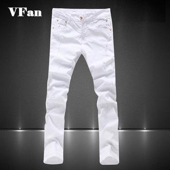 Мужчины разрез узкие джинсы марка белый хлопок приталенный Fit весна осень брюки ...