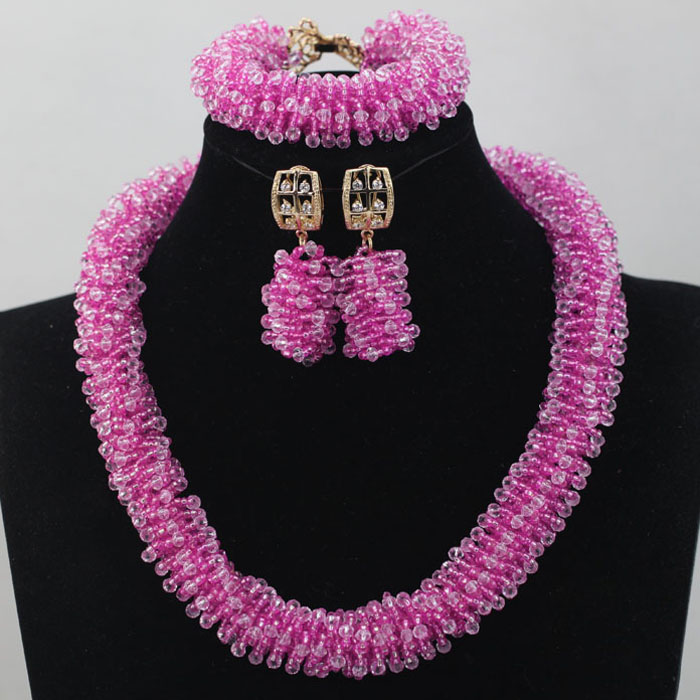 Perfect Pink Jewelry Set for Brides African Beads Jewelry Set Lady Anniversary Party Jewelry Set Gift Free Shipping WD246(China (Mainland))