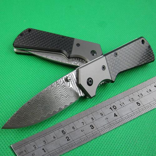 Free Shipping Damascus Folding Camping Pocket Knife Outdoor Multi Functional Knives EDC Tools Damascus Knife Carbon Fiber Handle(China (Mainland))