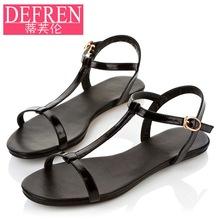 Flat heel sandals female 2016 flat heel t belt brief black open toe sandals student shoes