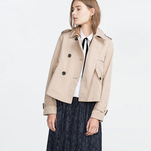 New Fashion British Style Women Short Coat Spring Autumn Ladies Elegant Trench Loose Casual Coats Double Breasted Outwear ZJ356