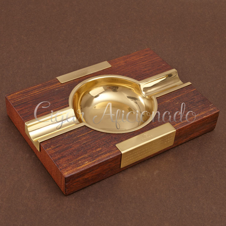 COHIBA Brand New Gadgets Smoking Accessories Brown Solid Wood Basel Yellow Chrome Metal Cigar Ashtray Holder 2 Rest(China (Mainland))