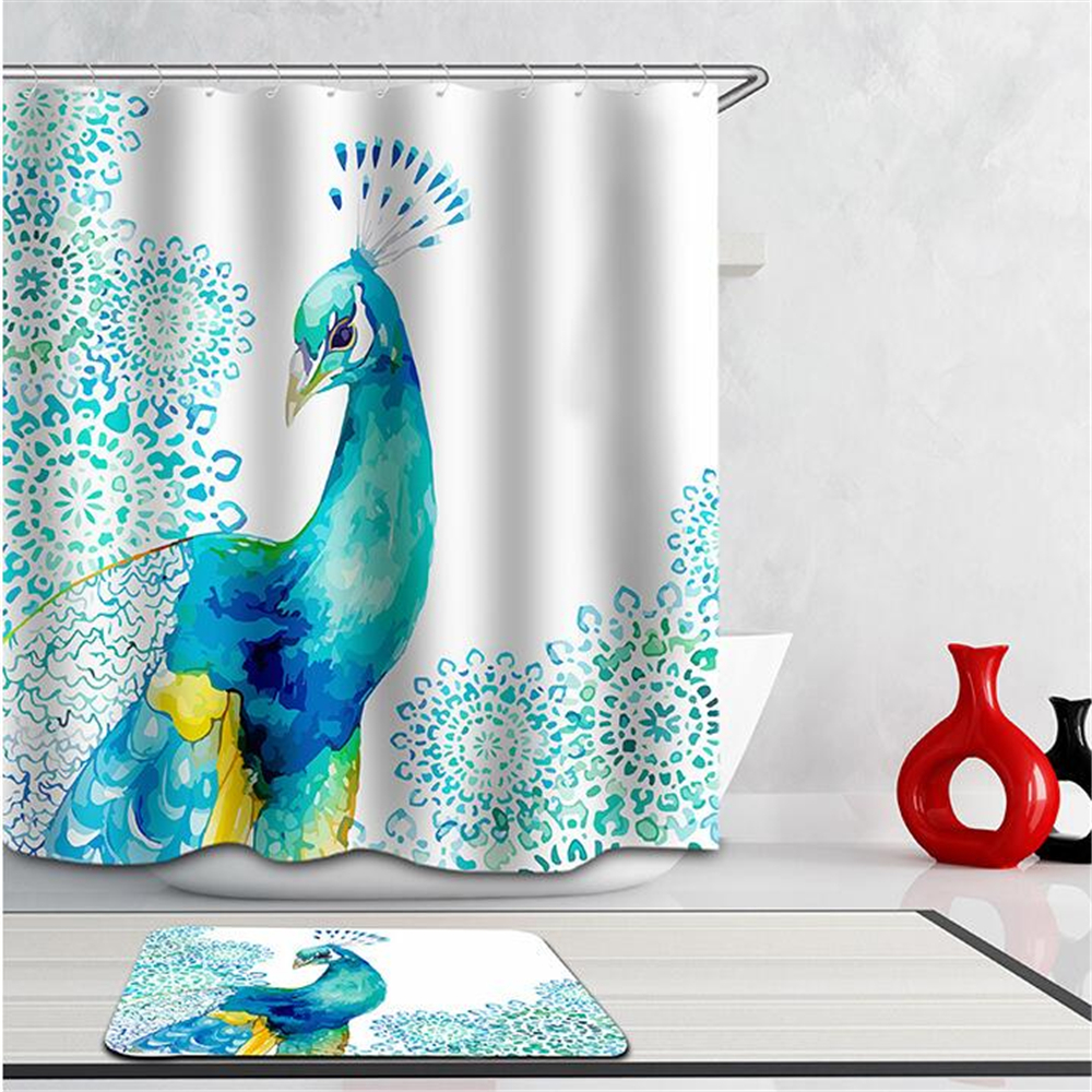 3d Curtains Beautiful Peacock Bird Feathers Shower Curtain Waterproof Fabric Bath Curtains For