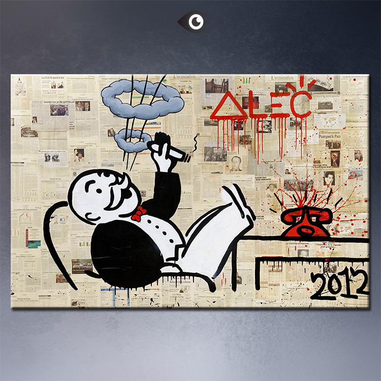 Alec monopoly no5 big Graffiti art print canvas wall picture decoration oil painting living room - DP ARTISAN store
