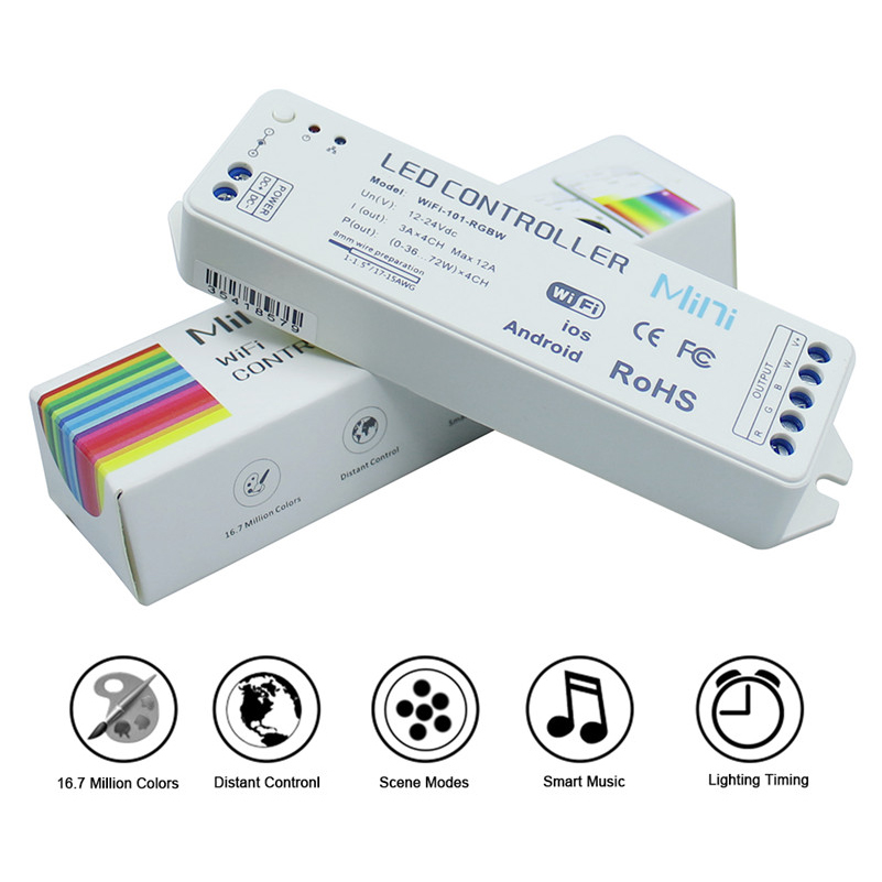 2.4G mini Wifi RGBW led controller DC12V-24V 12A Wireless for 5050 RGBW Led Strip IOS Android supported  CE RoHS<br><br>Aliexpress